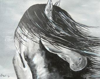 Horse-Black and White-Print