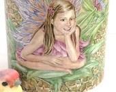 Ceramic Fairy sitting on a Pineapple Patch design 11oz Mug, Light pink handle