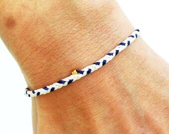 Mens bracelet friendship bracelet - nylon cord with gold vermeil faceted bead