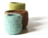WOOLY FELTED BOWLS - three felted bowls - olive green, nougat brown, sapphire blue* 2