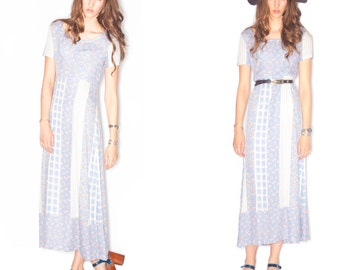Vintage Pastel Empire Waist Cotton Calico Maxi/Midi dress