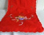 Christmas table runner  vintage Swedish embroidered red and gold
