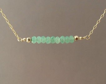Straight Bar Green Aventurine Beaded Necklace Gold Rose Gold or Silver