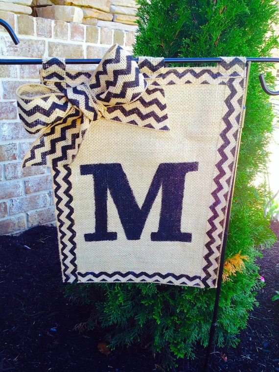 Items Similar To Burlap And Chevron Monogram Garden Flag