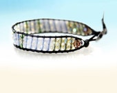 Crystal round white opal, green ,yellow 2 rows wrap bracelet on natural black leather cord