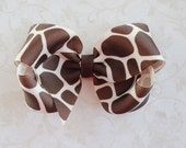 Giraffe Print Twisted Boutique Bow - Brown Giraffe Bow - Baby Hairbow - Girls Hairbow