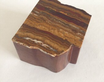 Wooden Box with Stone Lid - Multicolored Striations