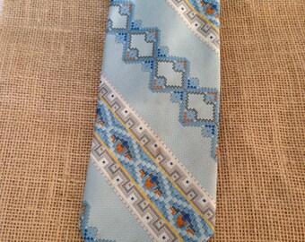 Vintage Necktie Mr John by Beau Brummell, Spring Tie, Vintage Tie, Light Blue Necktie, Geometric Pattern
