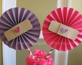 """2- 6"""" Doc McStuffins Inspired Birthday Centerpieces -Paper Fans- Pinwheels-Doc McStuffins Birthday/Paper Rosettes/Candy Buffet Decorations"""
