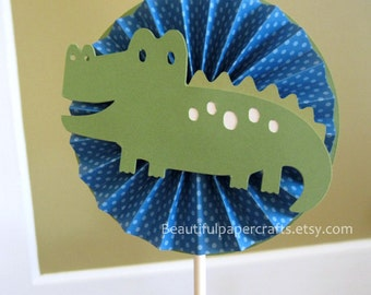 Alligator Smash Cake Topper,  Rosette Cake Toppers - Alligator Happy Birthday Decorations, Alligator Baby Shower You choose your colors.