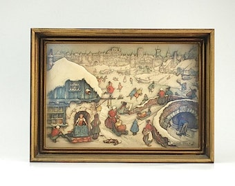 Vintage 3D Anton Pieck Winter Village Scene Shadow Box, Mid Century POP Art Wall Decor, Unique Gift For Mom Wife, Fathers Day Gift For Dad