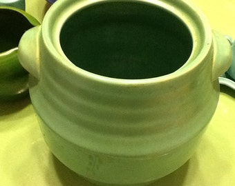 1940 Ringed Pottery Green Crock