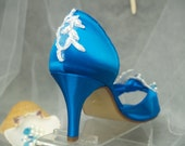 Bridal Shoes Turquoise Deep Blue or other colors - Mid heel blue shoes bride, open toe, closed ankle, satin and lace embellished shoe
