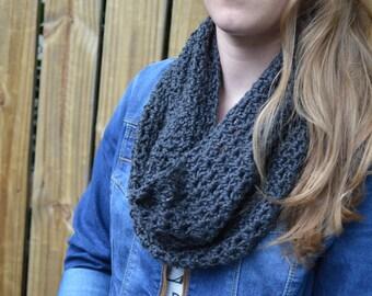 Charcoal gray crochet cowl infinity scarf