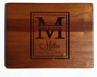 PERSONALIZED CUTTING BOARD / Establishment Monogram cutting board Carved from Mahogany.
