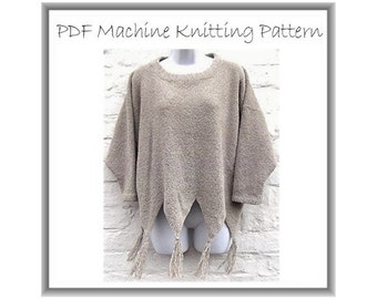 Machine knitting PDF pattern. Boxy Sweater in 4 ply. Baggy style up to 54 inch bust