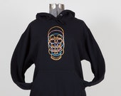 Jerzees adult medium, black, pullover hoodie with a colorful quartet of hand painted skulls