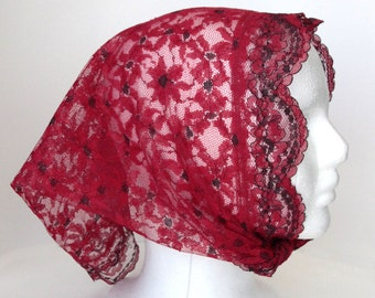 Vintage Red Floral Lace Triangle Scarf Shawl