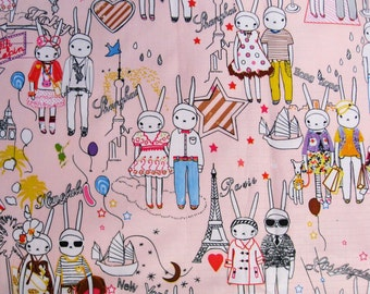 WF120  - Vinyl Waterproof Fabric - Fifi Lapin and Sonny Bunny Rabbit on Light pink - 1/2  yard