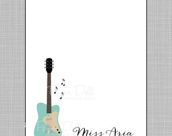 Aqua Electric Guitar with Floating Music Notes - Personalized Custom Notepads - To Do List, Birthday Gift, Personal Stationary - Aria.