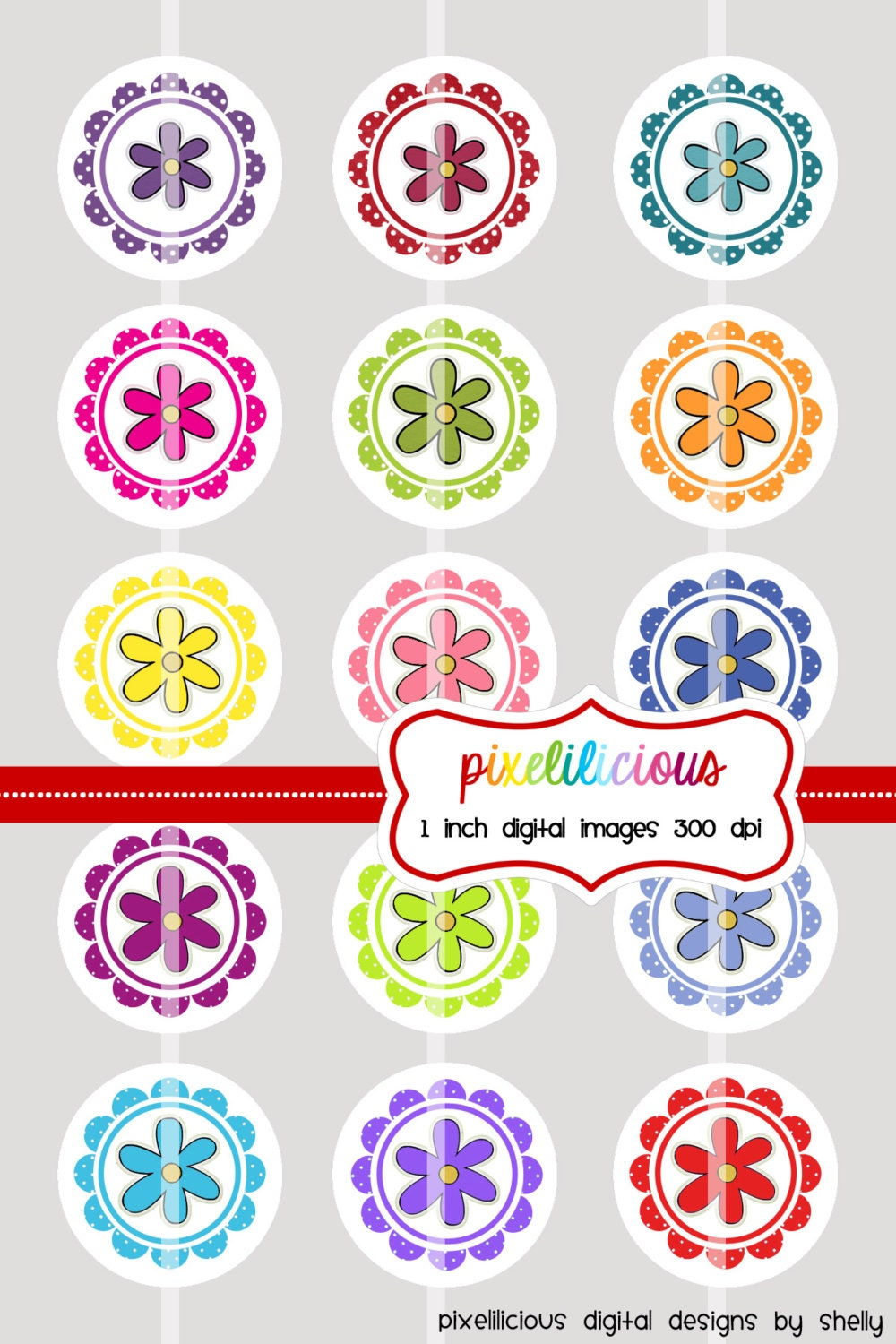 Bottle cap image sheet instant download flowers 1 1 for How to make bottle cap flowers