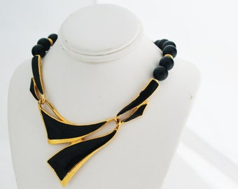 Necklace- Vintage 70s Beaded Black and Gold Accents