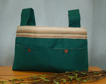 Walker Bag - Forest Green with a brown and tan striped lining.