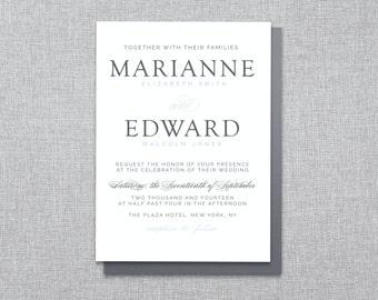 Just My Type - Classic Wedding Invitation - Custom Printable PDF