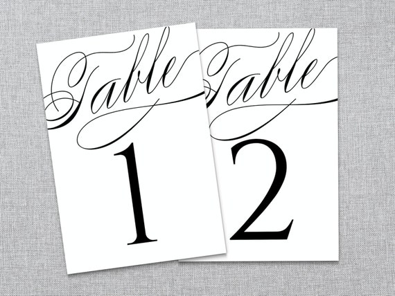 Elegant script wedding reception table numbers by lashepherd for Table numbers for wedding reception templates