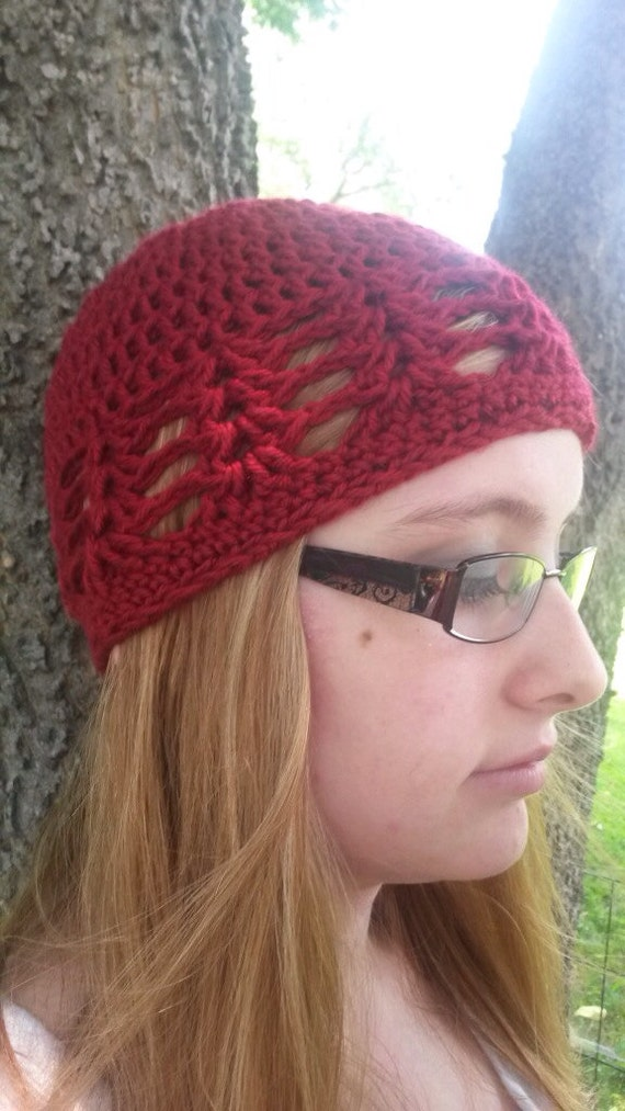 Free Crochet Pattern For Lace Beanie : Lace hat crochet beanie crochet shell lace hat