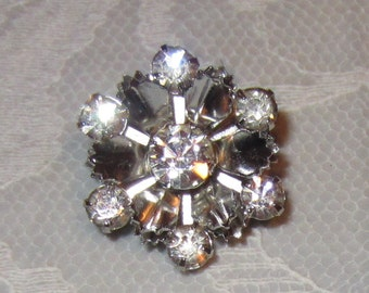 Small Rhinestone Brooch Pin on Silver tone Mental Snowflake or Flower Jewelry Vintage 1950s
