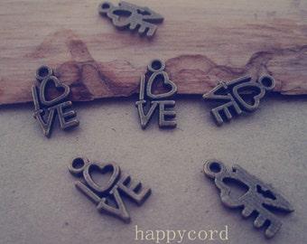 50pcs Antique Bronze Love letter pendant charm 9mmx14mm