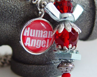 Human Angel 9/11 Tribute Angel Necklace, Red & Silver Wing Nut Never Forget September 11th