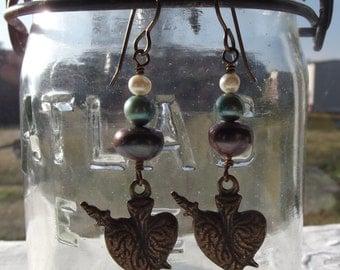 Bronze Immaculate Heart Earrlings Catholic Jewelry