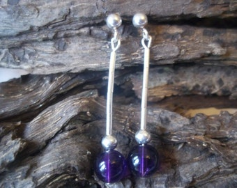 Deep purple Amethyst and sterling silver Dangle Earrings