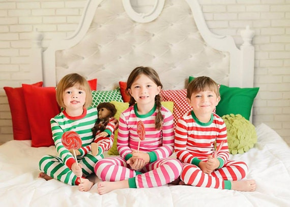 Striped pajamas for Christmas