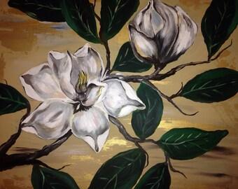 """Magnolias in Bloom. Original 24"""" x 24"""" x 1-1/2"""""""
