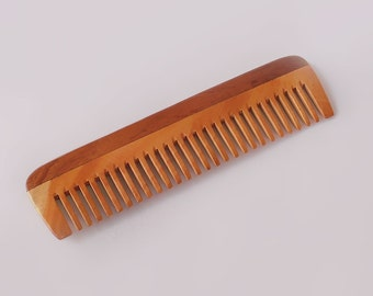 "Handcrafted Neem Wood Comb - Anti Dandruff, Non-Static and Eco-friendly- Great for Scalp and Hair health -7"" Wide toothed"