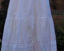 Broderie Anglaisse 1950s 1960s cotton slip ~ pink ribbon