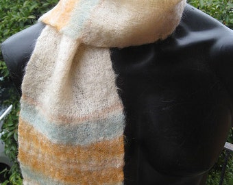 Cream, orange and blue mohair scarf ~ winter warmth