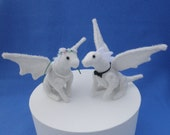 Wedding Dragons, miniature white dragons, dragon cake topper, wedding keepsake dragons