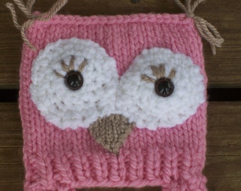 Hand Knit,Owl,Pink,Hat,Braids,Photo Prop,Gift,Girls,Infant,Baby,Gift,Babies