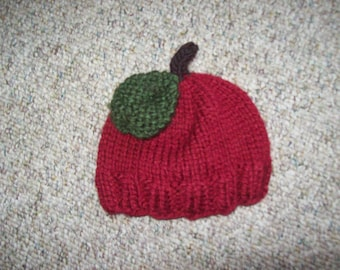 Photo Prop,Gift,Girls,Babies,Hand Knit,Apple,Dark Red,Newborn,Hat,Infants