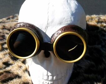 Steampunk Goggles, Dark Lens Steampunk Desert Goggles Bioshock Glasses - Halloween steampunk costume