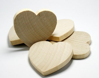 "10 Solid Wood Hearts, 2"" x 2"", 1/4"" Thick,  Natural Wood Heart  for Crafting, Staining, Painting, (#H025)"