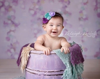 Purple and aqua flower headband/ Newborn headband/ Baby headband/ Flower headband