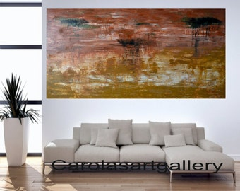 "48""  Original Abstract Painting Landscape Painting Palette Knife  Acrylic Painting Modern Art Handmade  by Carola, 48""x24"""