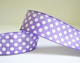 Wired Ribbon Purple Ribbon Polka Dot Ribbon Wide Ribbon Fabric Ribbon Decorative Ribbon