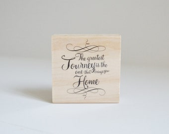 Rubber Stamp Wood Mounted Home Typography Cute Saying