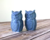 Vintage Owls - Blue Owls, handmade from 1970's ceramic mold.  Owl collection - Owl Cake Topper - Blue Owls - Handmade Ceramic Owls